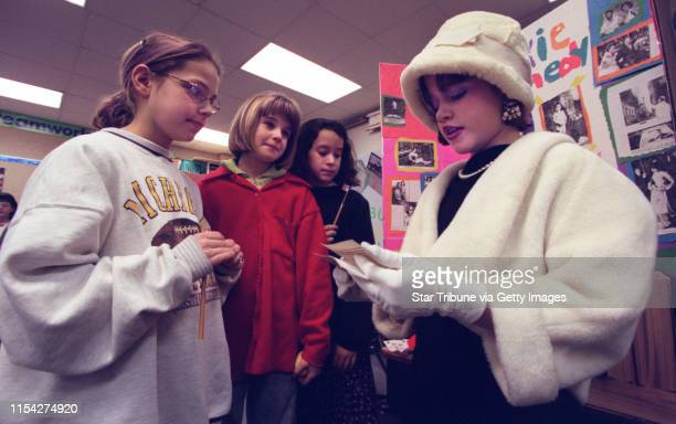 5th graders at the school are impersonating figures in history _ Henry Ford Sacajawea Buffalo Bill etc _ as if they were characters in Madame...