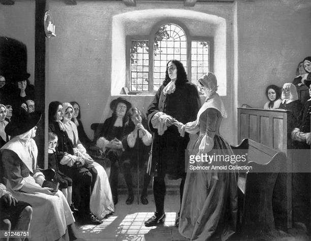 5th January 1696, the marriage of English Quaker and founder of Pennsylvania William Penn and Hannah Callowhill at the Friends' Meeting House, The...
