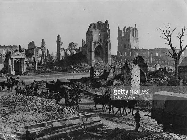 The ruins of St Martins Church and Cloth Hall, Ypres, Belgium.