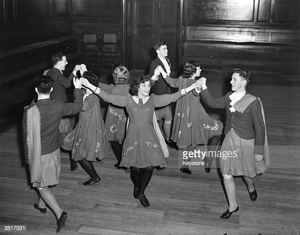 Irish folk dancers giving a display at a festival ball at the English Folk Dance and Song Society Regent's Park London