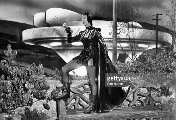 British actress Patricia Laffan as the Devil Girl during the filming of the new British film 'The Devil Girl From Mars' at Shepperton Studios