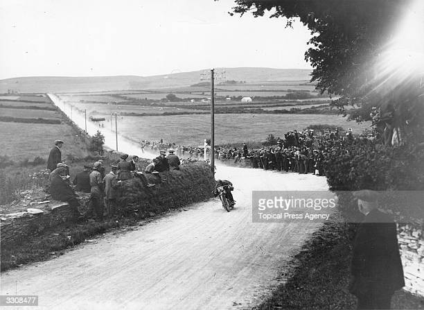 W Stanhope Spencer racing on a Rudge in the Senior Tourist Trophy Race in the Isle of Man