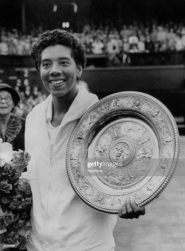Althea Gibson winner of the Women's Singles finals at Wimbledon for the second time when she beat Angela Mortimer of Great Britain.