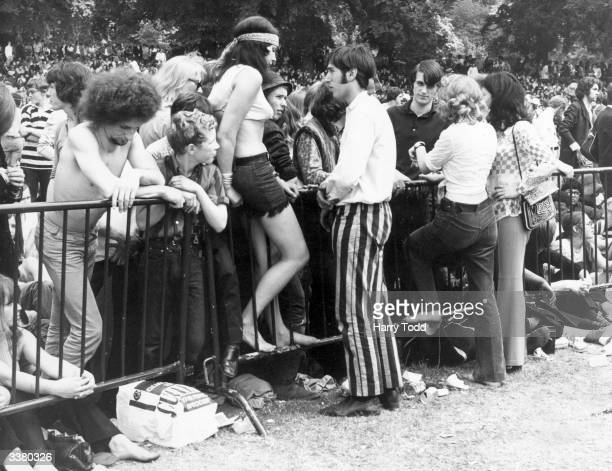 A section of the 250000 strong crowd gathered in Hyde Park London for a free concert by British rock group the Rolling Stones