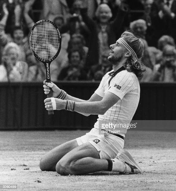 Bjorn Borg of Sweden goes down on his knees in celebration of his victory over John McEnroe of the USA at the Wimbledon Tennis Championships winning...