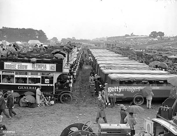 Buses and motor coaches parked at Epsom for the Derby horse race