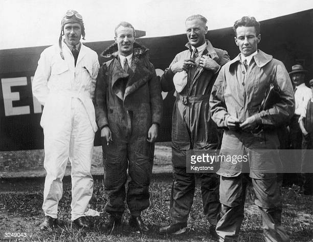 Australian aviator Sir Charles KingsfordSmith on arrival at Baldonel aerodrome near Dublin with his three crew in their Fokker aircraft the 'Southern...