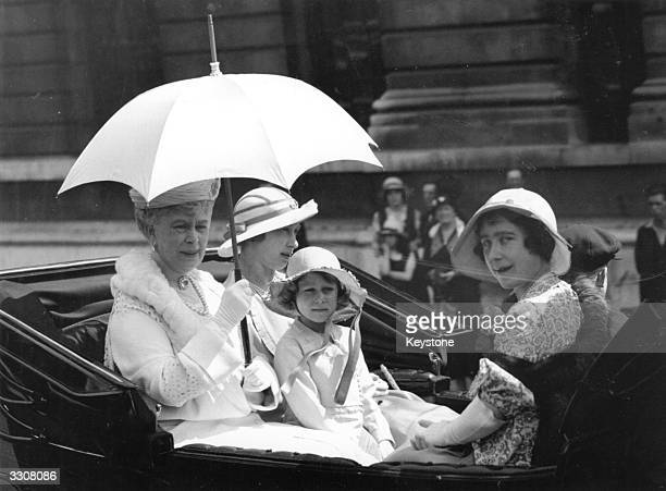 Queen Mary Queen Consort to King George V with her daughter Princess Mary the Princess Royal beside her and Elizabeth the Duchess of York and...