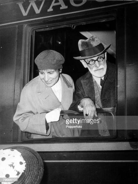 5th June 1938 Paris France Professor Sigmund Freud the 82 yearold Austrian Psychoanalyst is pictured in Paris with a female companion