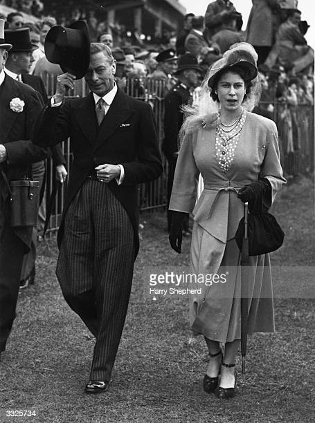 George VI king of Great Britain and his daughter Queen Elizabeth II at the Derby at Epsom