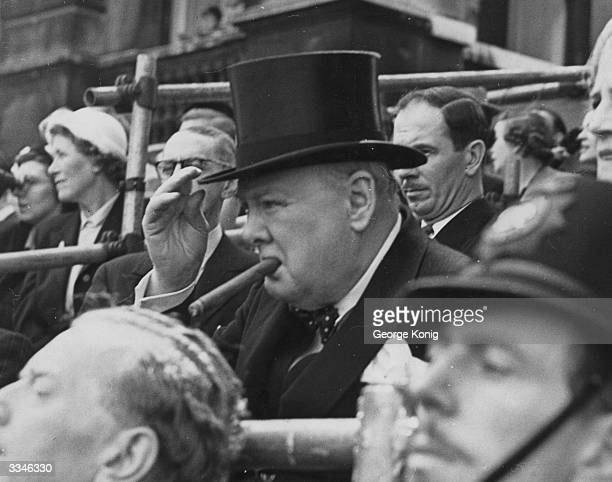 Prime Minister Winston Churchill attends the trooping of the colour