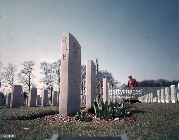 The war cemetery of the British First Airborne Division at Arnhem in the eastern Netherlands where nearly 2000 died in 1944 attempting to gain a...