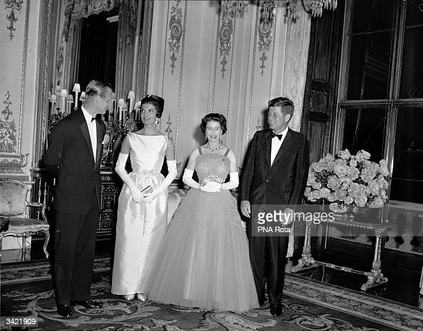 Prince Philip Jacqueline Kennedy Queen Elizabeth II of Great Britain and the American President John Fitzgerald Kennedy at Buckingham Palace London...
