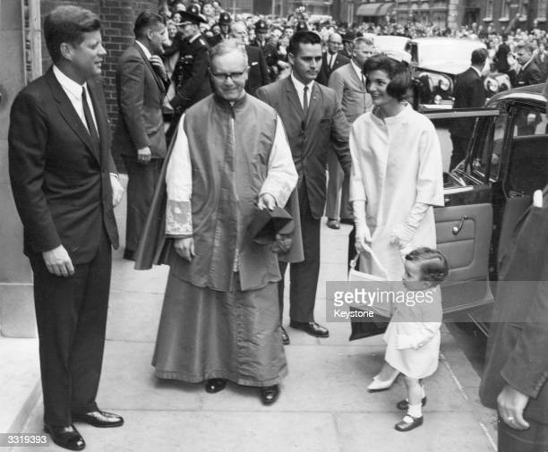 US statesman John F Kennedy 35th president of the USA arrives at Westminster Cathedral London for the christening of his sisterinlaw Princess...