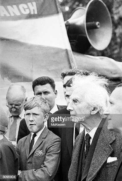 British philosopher and mathematician Bertrand Russell at a rally of the National Union of Seamen in Trafalgar Square London