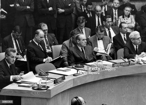 Delegates at an emergency meeting of the United Nations Security Council in New York to discuss the outbreak of hostilities in the Middle East. The...