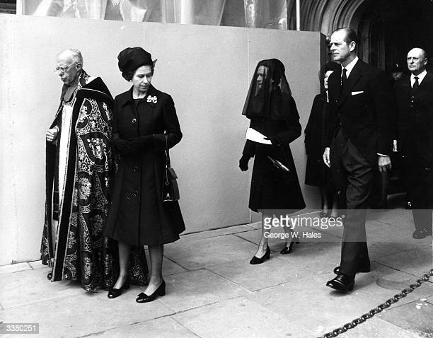 Queen Elizabeth II and Prince Philip Duke Of Edinburgh with the Duchess Of Windsor after the Duke of Windsor's funeral