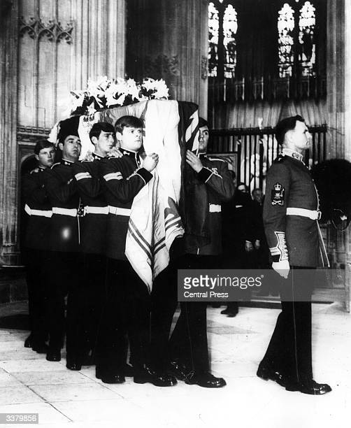 The funeral of the Duke Of Windsor at St George's chapel in Windsor attended by the British royal family and King Olav of Norway