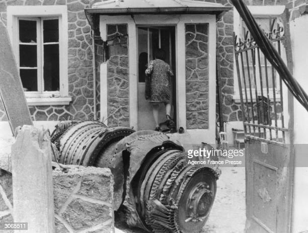 Part of an engine from a Soviet Tupolev TU144 airliner which fell on a house at Goussainville France during a display at the Paris International...