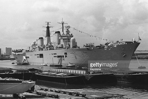 British aircraft carrier HMS Ark Royal moored at Greenwich London