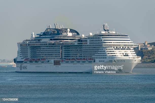 5th largest cruise ship in the world with a passenger capacity of 4500 MSC Meraviglia owned and operated by MSC Cruises sails under 25 de Abril...