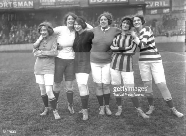A pack of forwards at a 'Theatrical Ladies' football match held at Tottenham FC