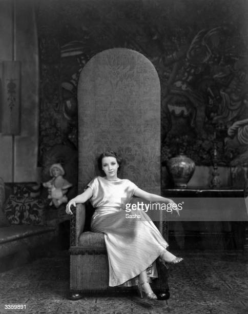 American actress Bessie Love sitting on a tapestrycovered highback chair in her London home She is currently touring England with her new revue...