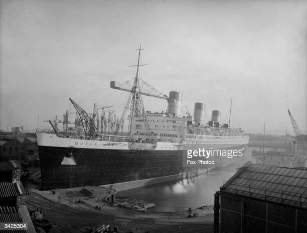 The newly completed SS Queen Mary at the shipyard on Clydebank Scotland