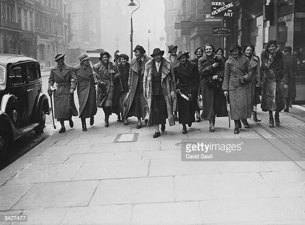 The German International Ladies' Hockey Team arrive at the Bloomsbury Hotel London the day before a match against England at the Oval Ground