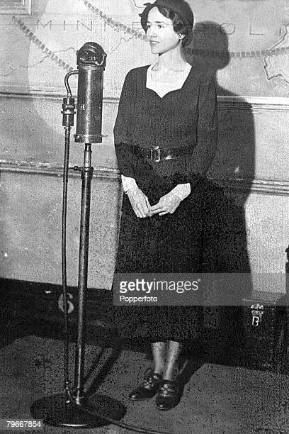 5th March Mrs Charles Lindbergh wife of the famous American aviator stands before a microphone at the time when there was an intensive search for...