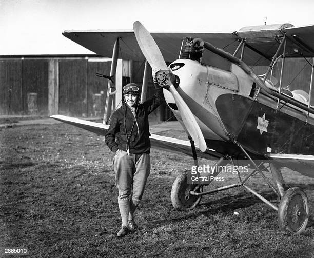 26yearold English aviator Amy Johnson standing in front of her Gipsy Moth just before she undertook a 19day solo flight to Australia She died in 1941...