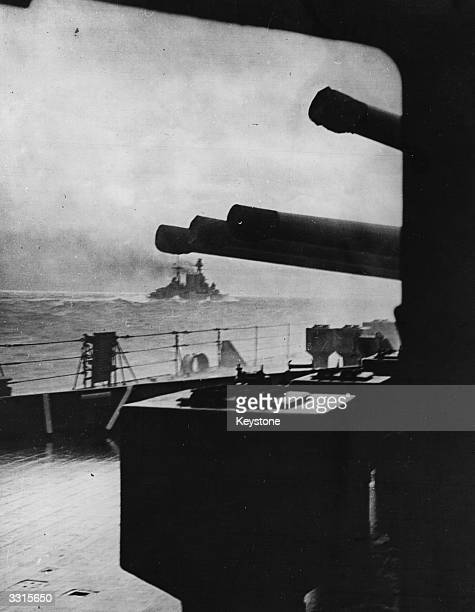 The last picture of HMS Hood seen from HMS Prince of Wales as she went into action against the German battleship 'Bismarck'.