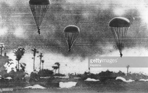 Japanese paratroopers landing in Sumatra