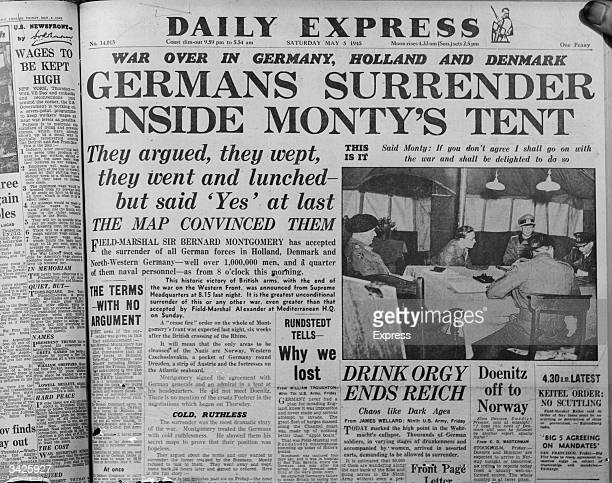 The front page of the Daily Express newspaper reporting the German surrender to Field Marshal Montgomery on Luneburg Heath