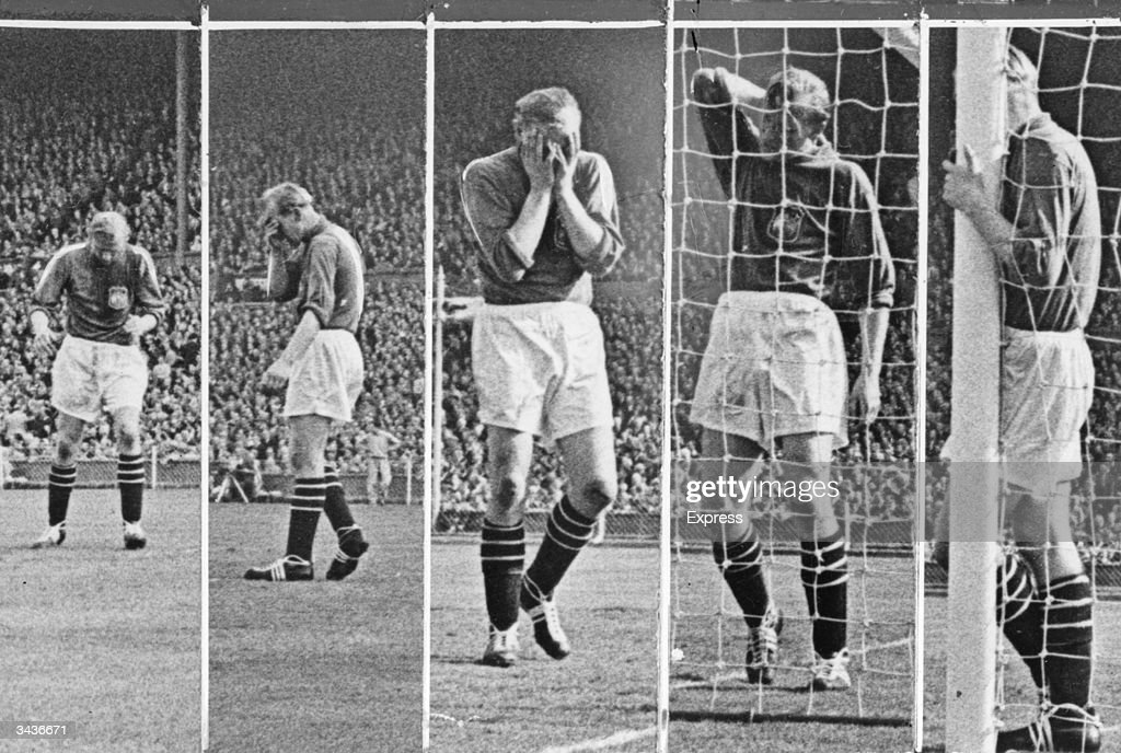 Goal mouth action in the FA Cup Final at Wembley Stadium as Manchester City play Birmingham City. Manchester City went on to a 3-1 victory. Goalkeeper for Manchester City Bert Trautmann is devastated by Jackie Dyson's goal.