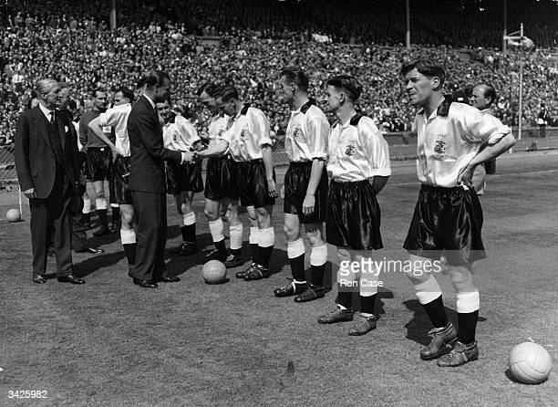 Prince Philip Duke of Edinburgh meeting members of Birmingham City team before an FA Cup final against Manchester City at Wembley