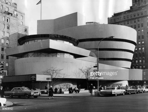 An exterior view of the Guggenheim Museum on Fifth Avenue in New York City