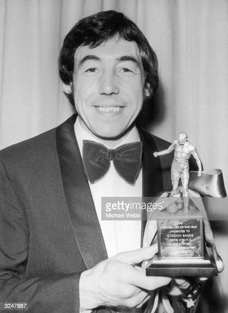 Stoke City and England goalkeeper Gordon Banks is voted Footballer of the Year by the Football Writers' Association and collects his award at the...