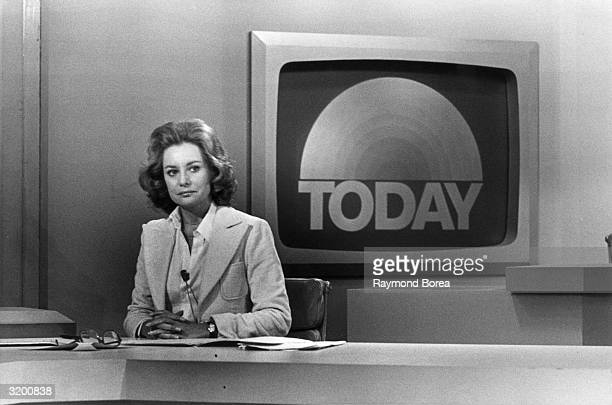 Promotional portrait of television journalist Barbara Walters on the set of the Today Show, New York City.