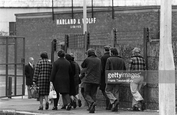 Shift workers going to work at Harland and Wolff shipyard in Belfast during the Loyalist strike