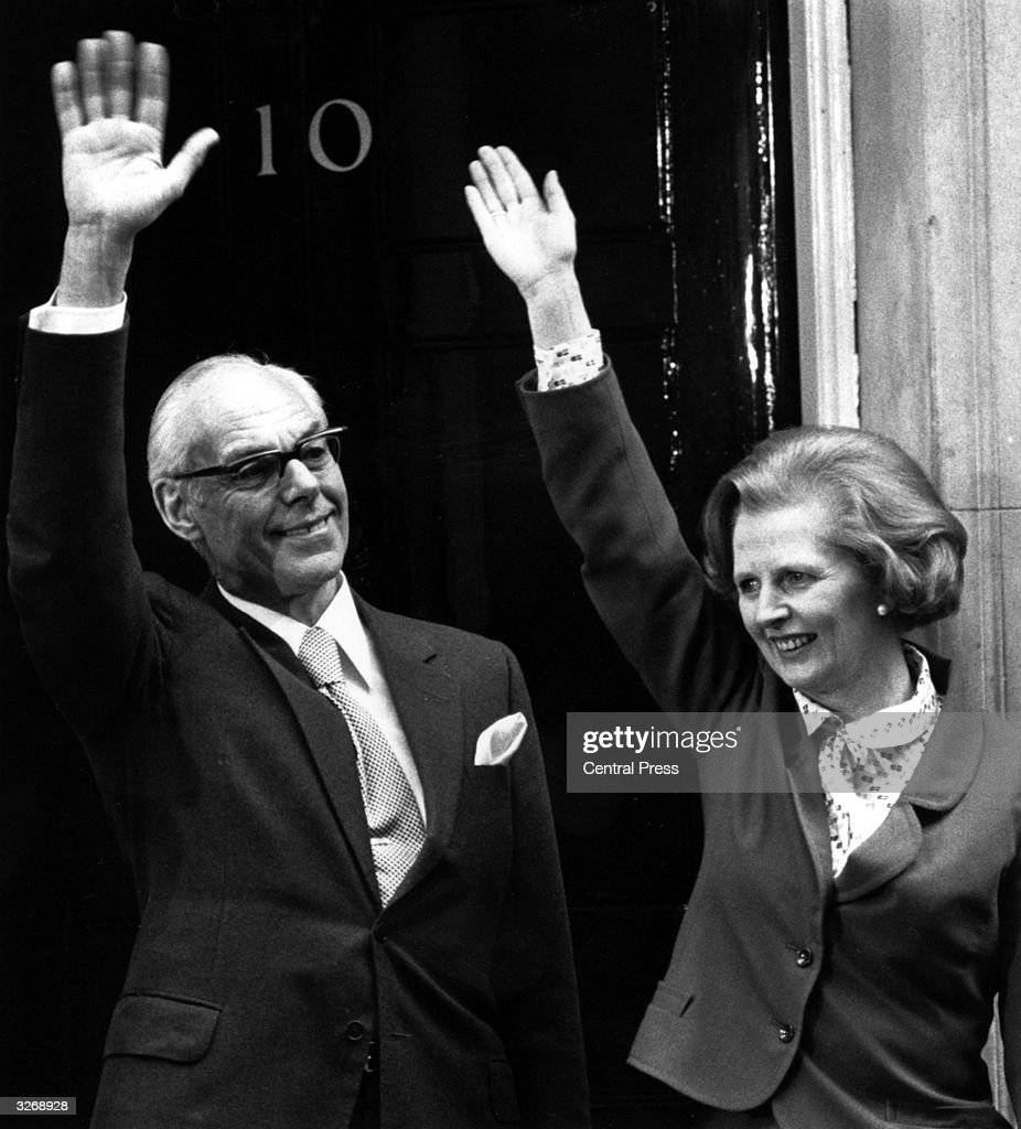 British Conservative Prime Minister Margaret Thatcher celebrates the 1979 general election victory with husband Denis (1915 - 2003) outside 10 Downing Street.