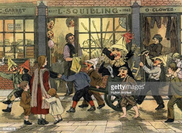 Children dressed in masks and paper hats take a straw guy through the streets asking for pennies Original Artist By F D Bedford