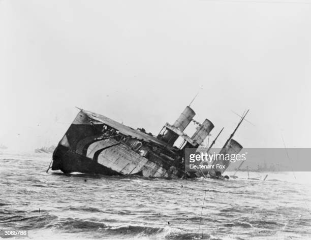 The former Cunard liner 'Campania' sinks in the Firth of Forth after a collision with the HMS Revenge Built in 1893 she became one of the first...