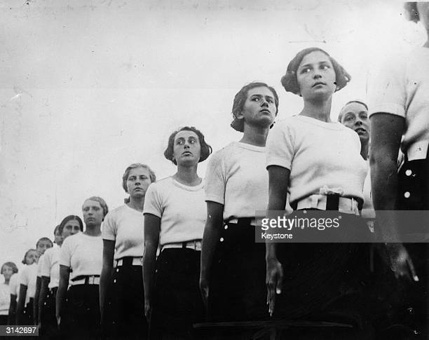 Fascist Girls during a display to inaugurate the 'Forum Mussolini' a huge development in Rome which includes two 20000 seat stadiums