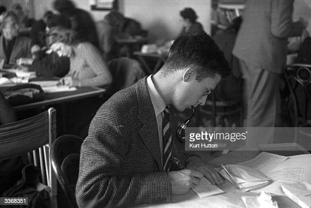 Oxford University undergraduates prepare byelection statements during the Oxford byelection Original Publication Picture Post 32 Crisis ByElection...