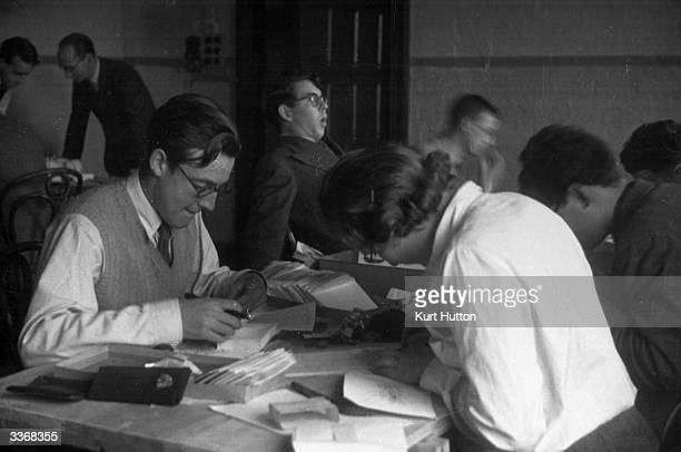 Oxford University undergraduates prepare by-election statements during the Oxford by-election. Original Publication: Picture Post - 32 - Crisis...