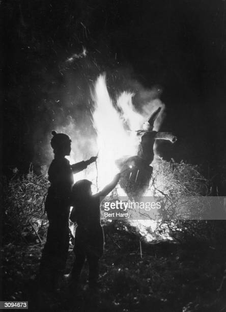 An effigy of Guy Fawkes is burnt on Bonfire Night Original Publication Picture Post 6202 OOOH pub 1952