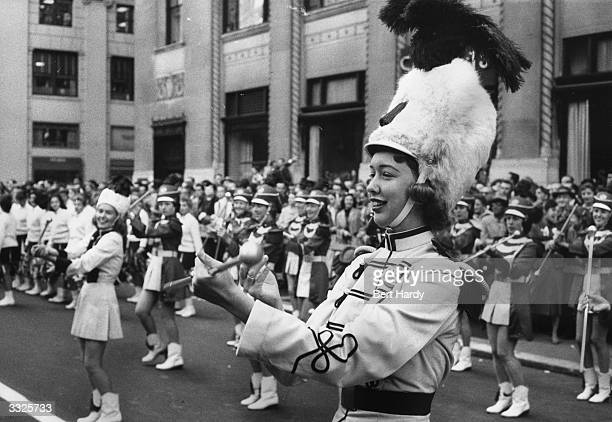 Drum majorettes performing during American President Dwight D Eisenhower's reelection rally at Madison Square Garden New York Original Publication...