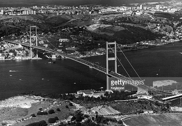 The Bosphorus Bridge at the opening ceremony by President Koroturk on the 50th anniversary of the founding of the Turkish Republic 3500 feet long it...