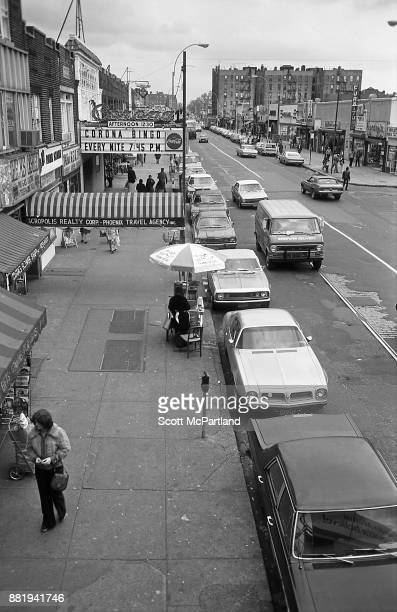 Elevated view of a Bingo Parlor and other small businesses lining Roosevelt Avenue in the heart of Corona Queens